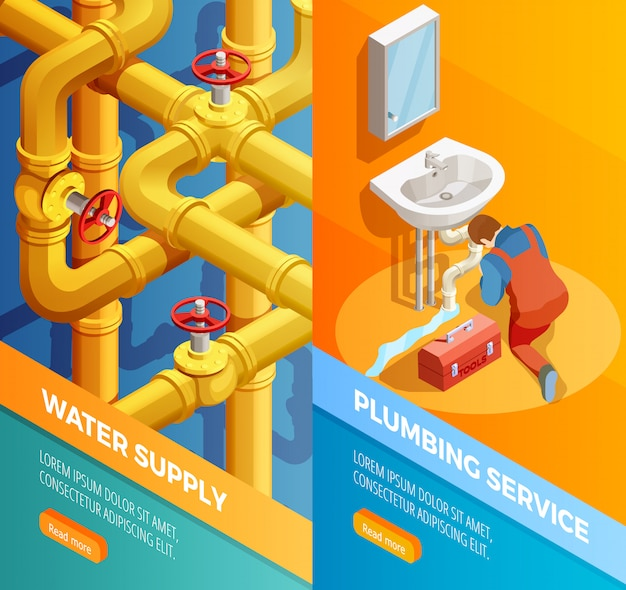Waters supply plumbing service isomertic banners Free Vector