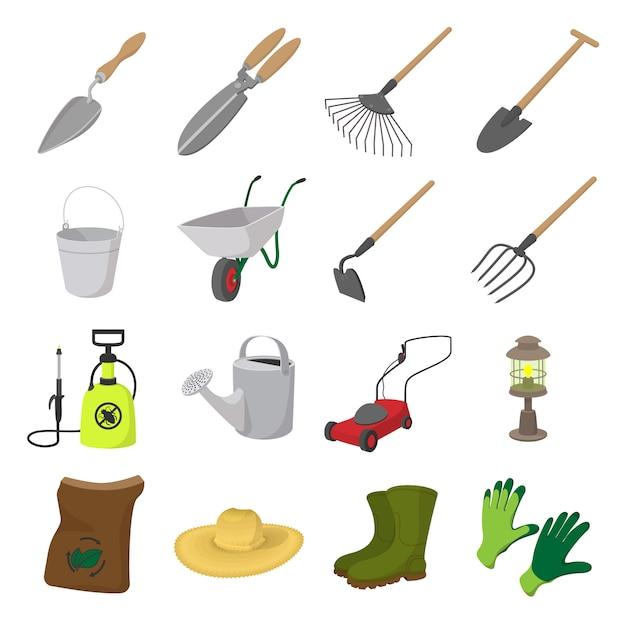 Набор иконок мультфильм сад. цветные символы с травой, watertights, лейкой Premium векторы