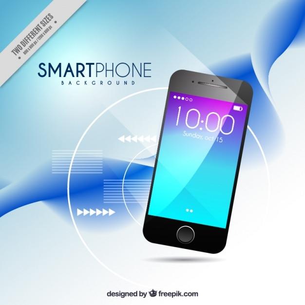 スマートフォンと波抽象的な背景 無料ベクター