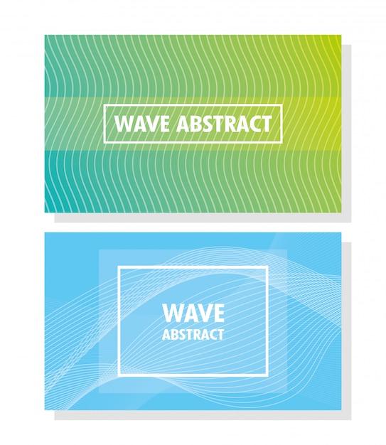 色の背景のレタリングと正方形のフレームと抽象的な波 Premiumベクター