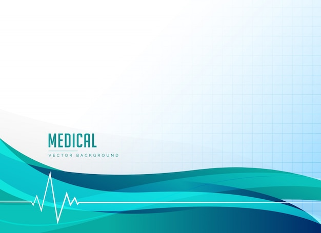 Wave background with electrocardiogram Free Vector