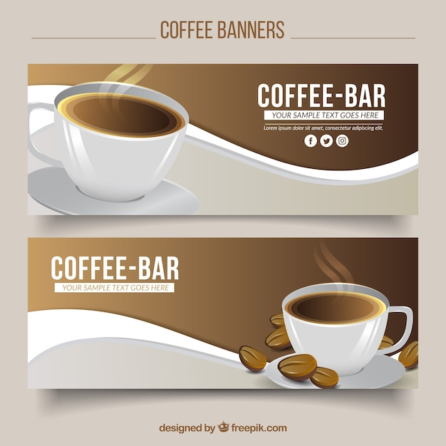 Wave Banners With Cup Of Coffee Vector