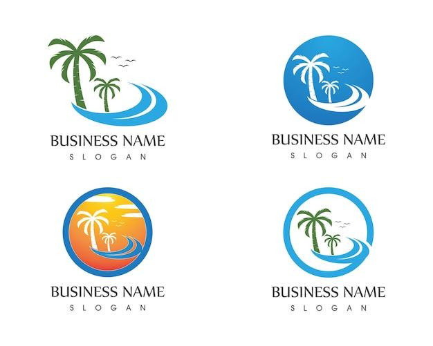 Wave beach holidays logo vector template Premium Vector