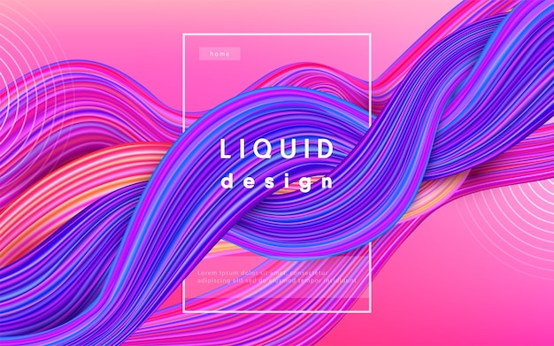 Wave color  background. liquid flow paint 3d design illustration. geometric dynamic wavy color ink art concept. Free Vector