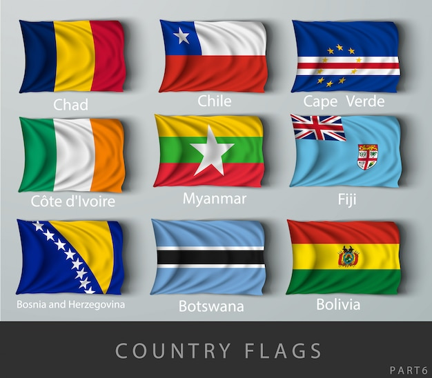 Wave country flag with shadows and screws Premium Vector