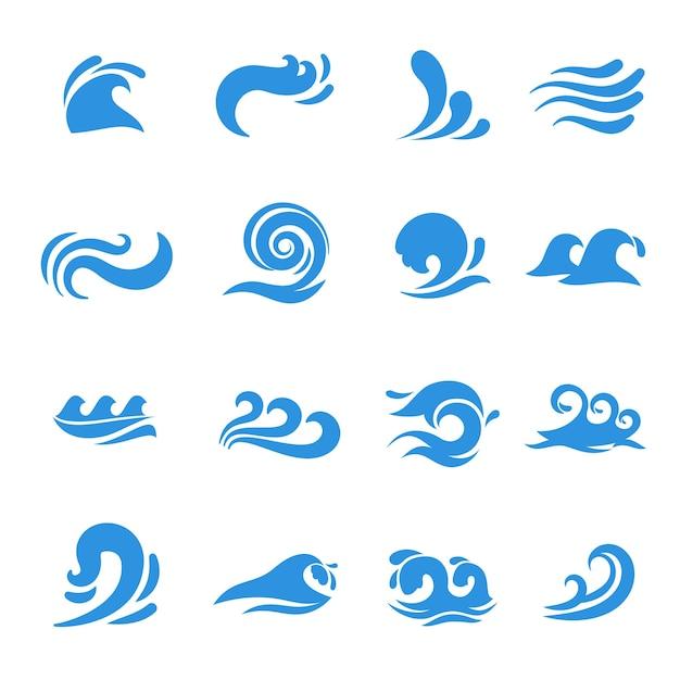 Волновые иконки. элемент воды и моря, жидкая кривая океана, плавный вихревой шторм, векторная иллюстрация Бесплатные векторы