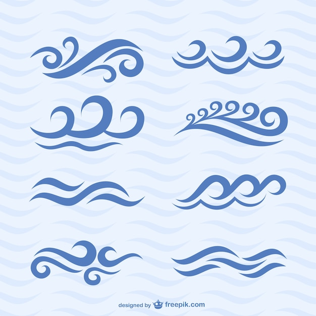 Wave icons Free Vector