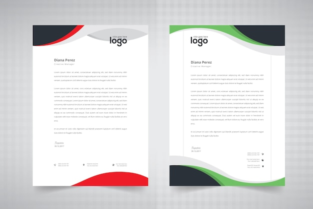 Wave letterhead design Premium Vector