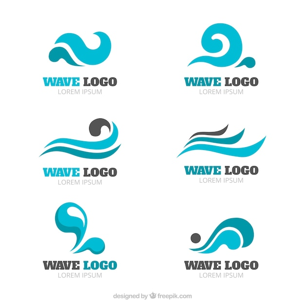 wave logo collection vector free download