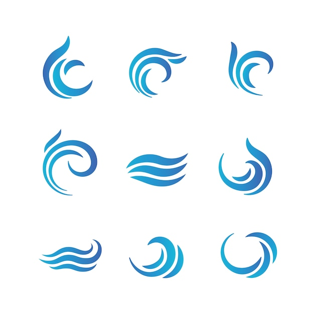 Wave logos. blue water waves with splashes Premium Vector