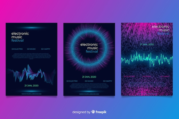Wave sound cover collection Free Vector