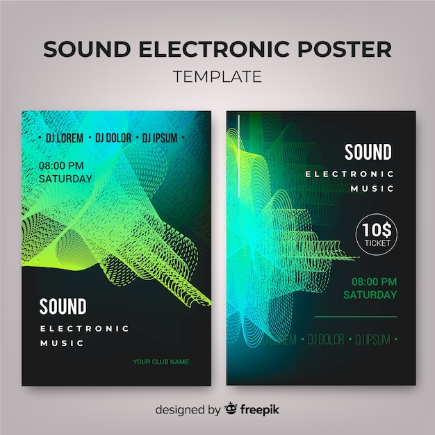 Wave sound electronic music poster collection Free Vector