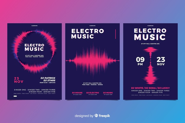 Коллекция музыкальных плакатов wave sound Бесплатные векторы