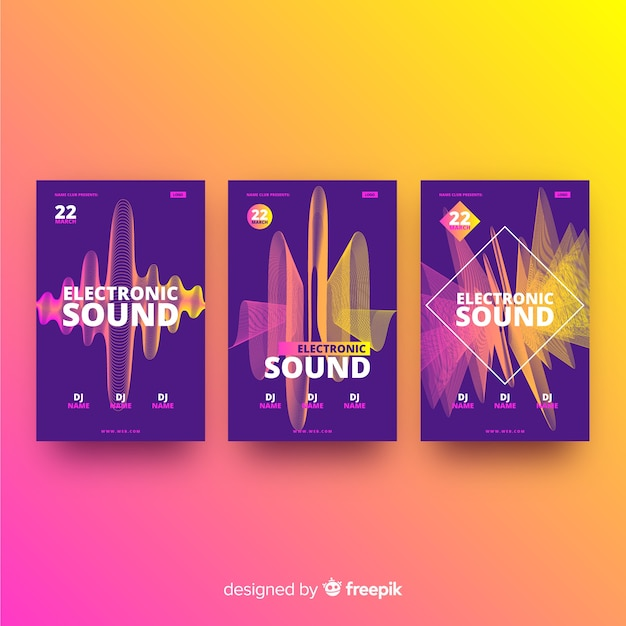 Wave sound electronic music poster Free Vector