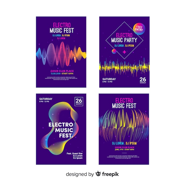 Wave sound poster collection Free Vector