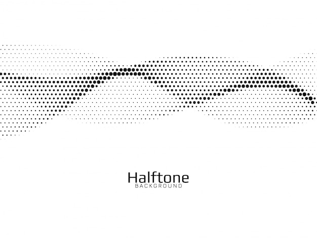 Wave style halftone design background Free Vector