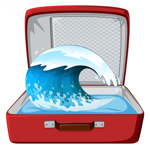 Wave on the suitcase Free Vector