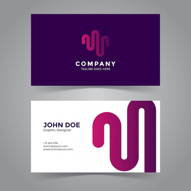 Wave symbol business card template Premium Vector