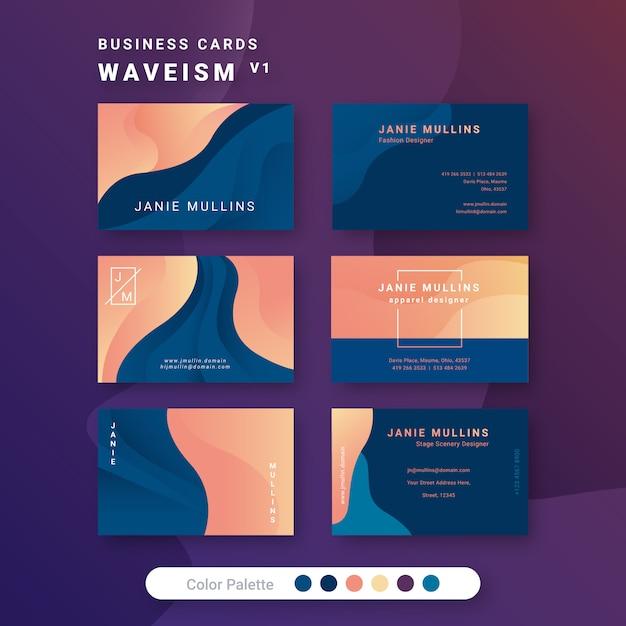 Шаблон визитки waveism 1 Premium векторы