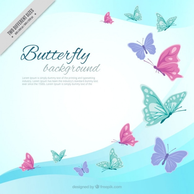 Waves background colored butterflies Free Vector