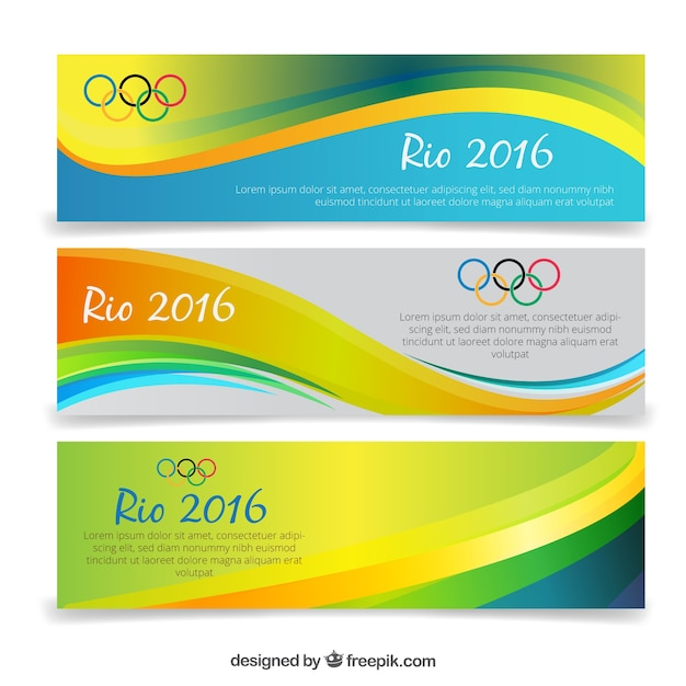 Waves banners of olympic games Free Vector