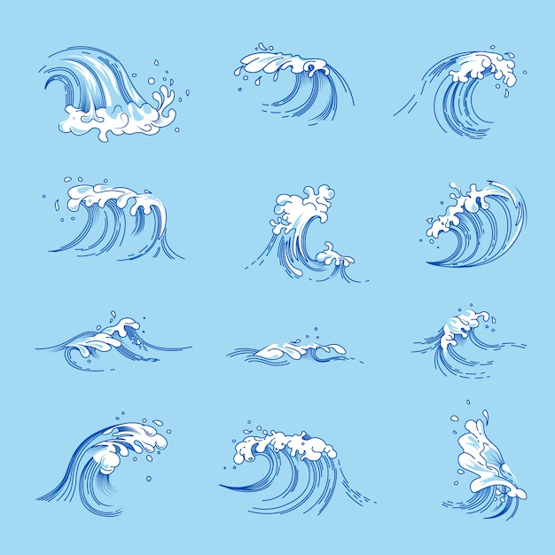 Waves and ocean or sea water splashes vector sketch icons set Premium Vector