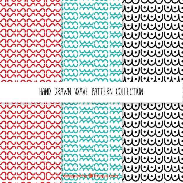Waves patterns collection Free Vector