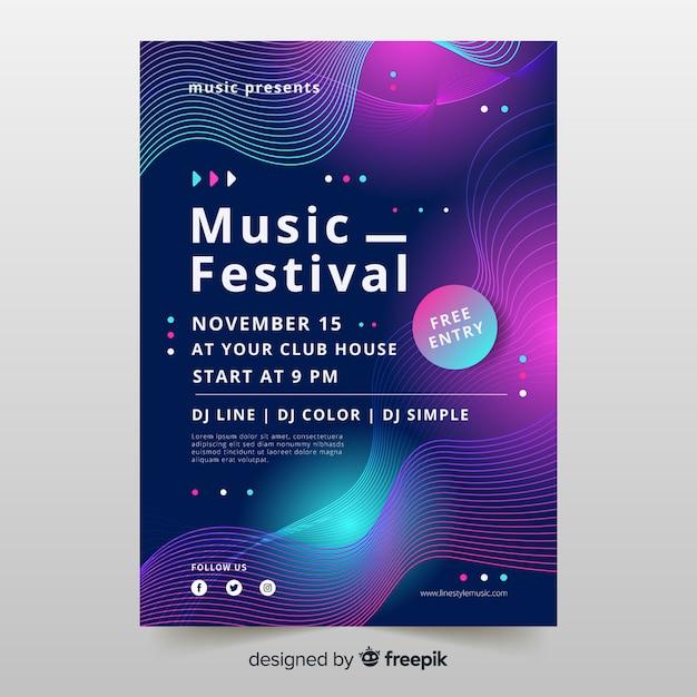 Шаблон музыкального постера waves с абстрактными формами Бесплатные векторы