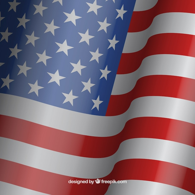 waving american flag background vector free download