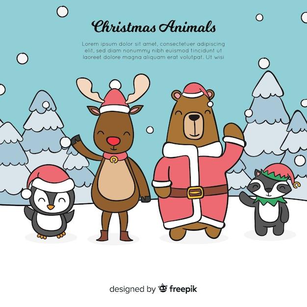 Waving animals christmas background Free Vector