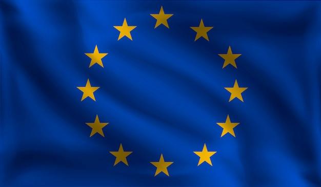 Waving europeans flag, the flag of europe Premium Vector