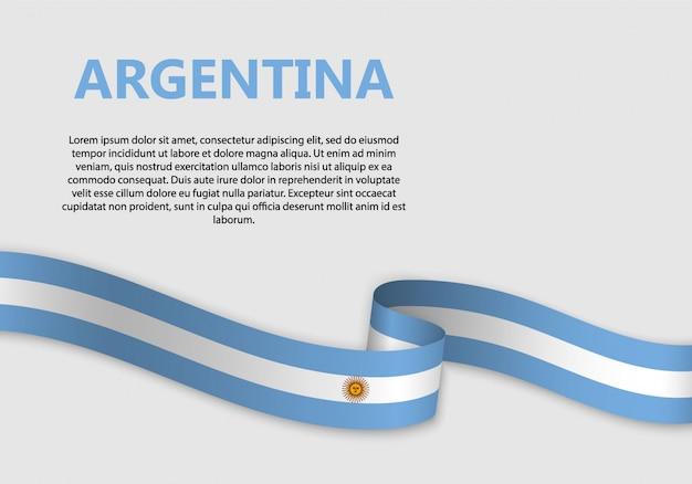 Waving flag of argentina banner Premium Vector