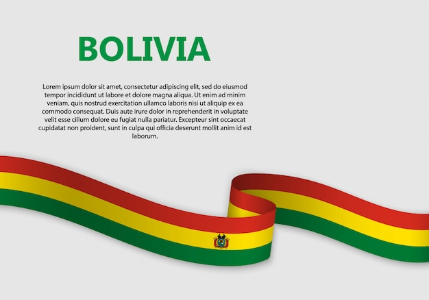 Waving flag of bolivia banner Premium Vector