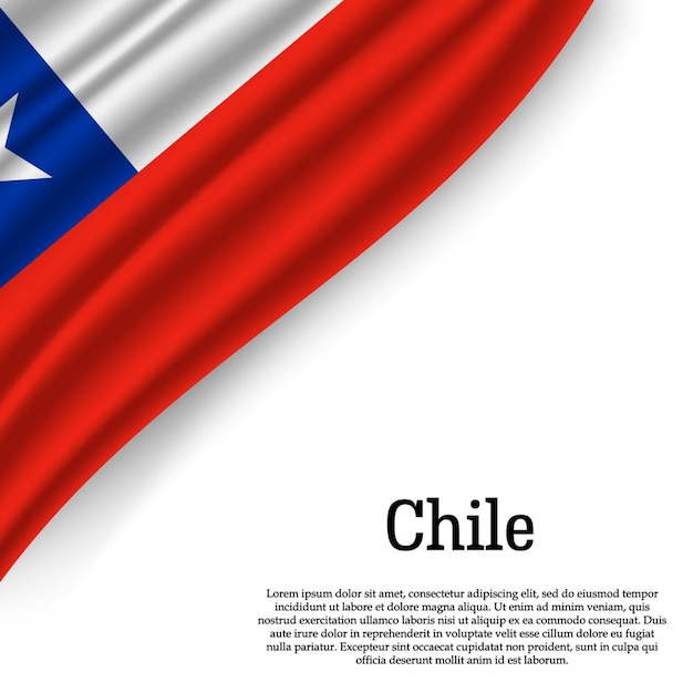 Waving flag of chile on white Premium Vector