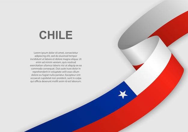 Waving flag of chile. Premium Vector