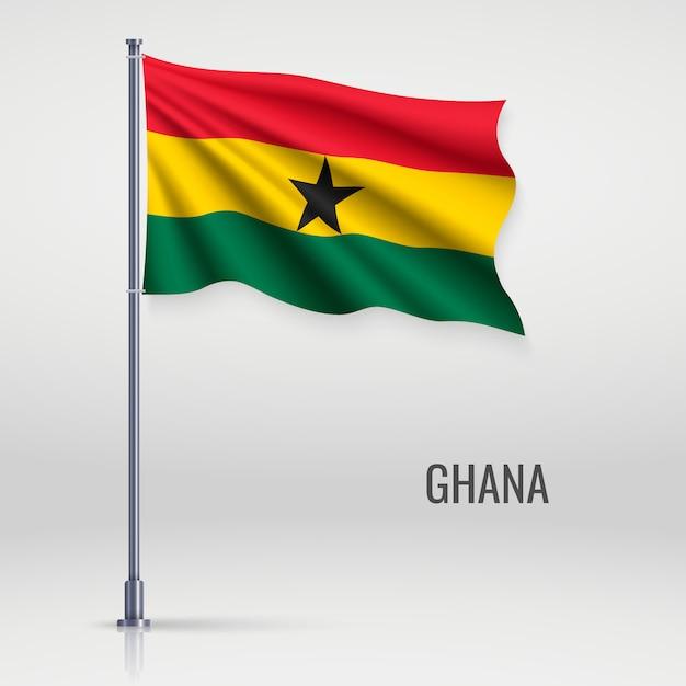 Waving flag on flagpole Premium Vector