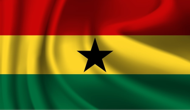 Waving flag of the ghana. waving ghana flag abstract background Premium Vector