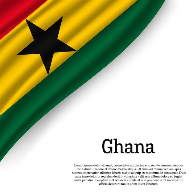 Waving flag of ghana on white Premium Vector
