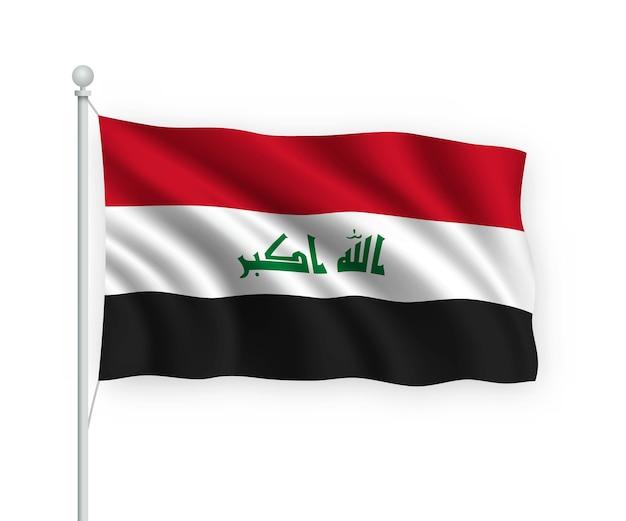旗竿にイラクの旗を振る白で隔離 Premiumベクター