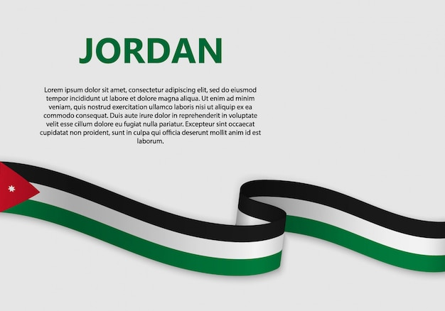 Waving flag of jordan banner Premium Vector