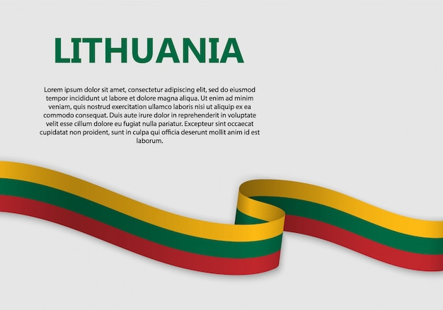 Waving flag of lithuania banner Premium Vector
