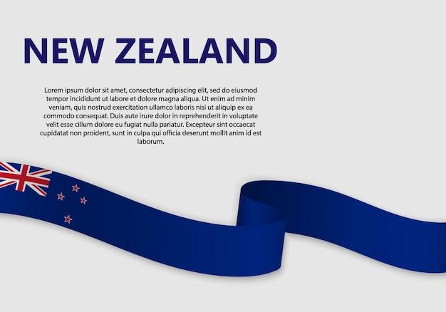 Waving flag of new zealand, vector illustration Premium Vector
