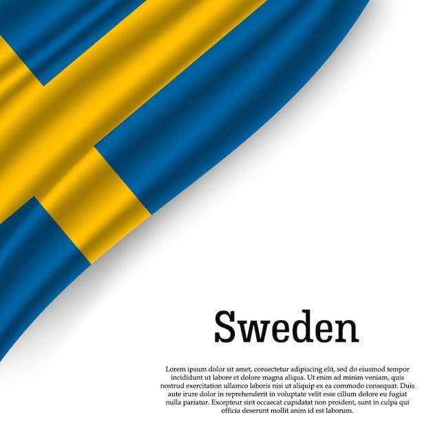 白でスウェーデンの旗を振る Premiumベクター