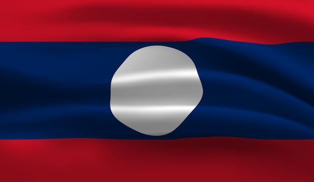 ラオスの旗を振っています。ラオスの旗の抽象的な背景を振る Premiumベクター