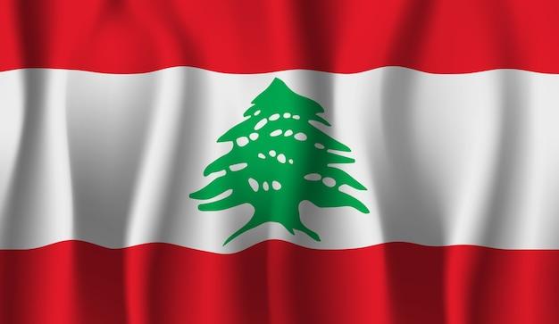 レバノンの旗を振っています。レバノンの旗の抽象的な背景を振る Premiumベクター