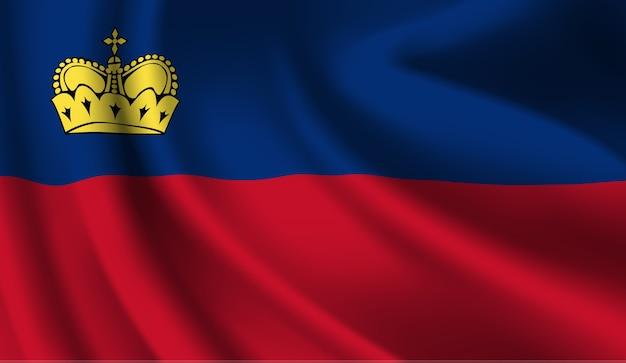 リヒテンシュタインの旗を振っています。リヒテンシュタインの旗の抽象的な背景を振る Premiumベクター