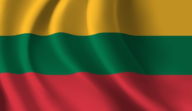 リトアニアの旗を振っています。リトアニアの旗の抽象的な背景を振る Premiumベクター