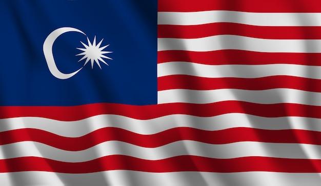マレーシアの旗を振っています。 Premiumベクター