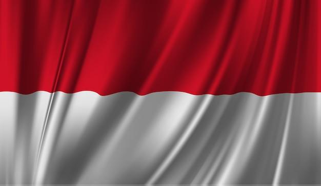 モナコの旗を振っています。 Premiumベクター