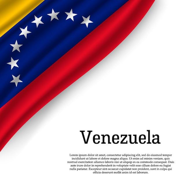 Развевающийся флаг венесуэлы на белом Premium векторы